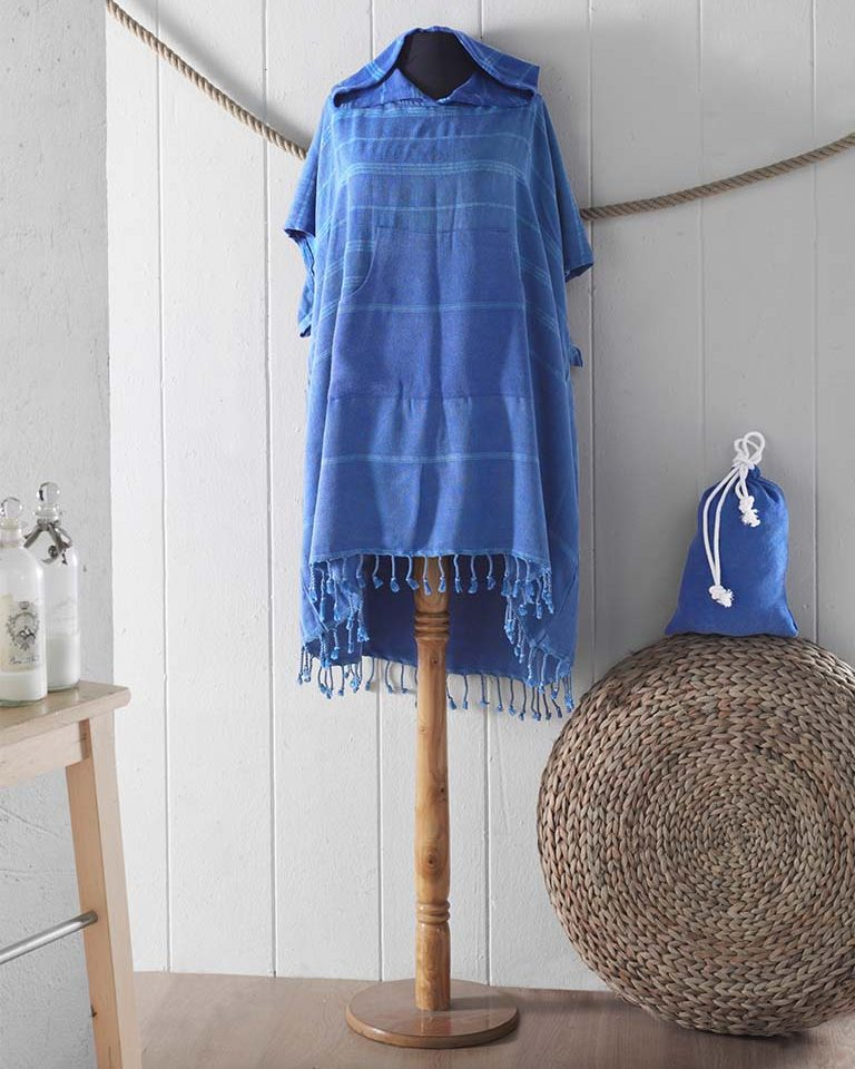 Peshtemal Poncho blau